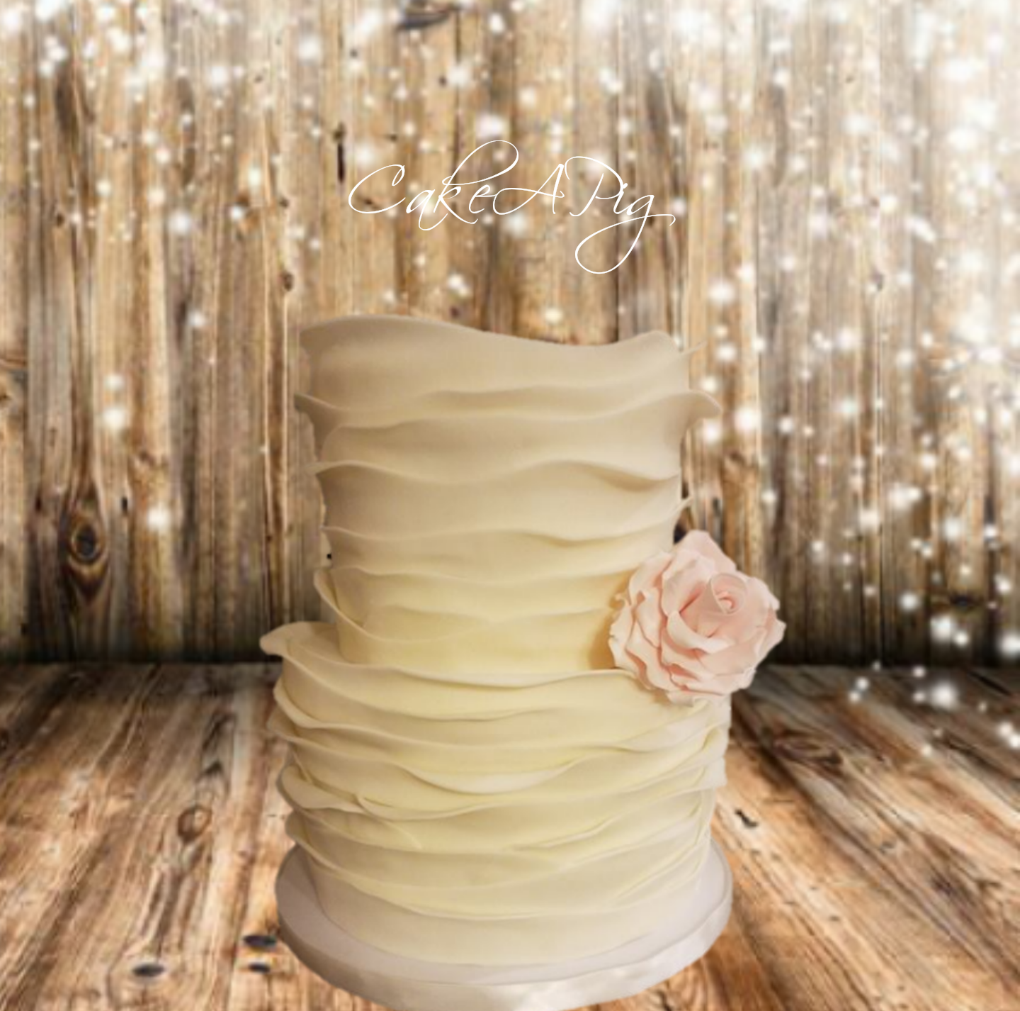 Ivory frill wedding cake