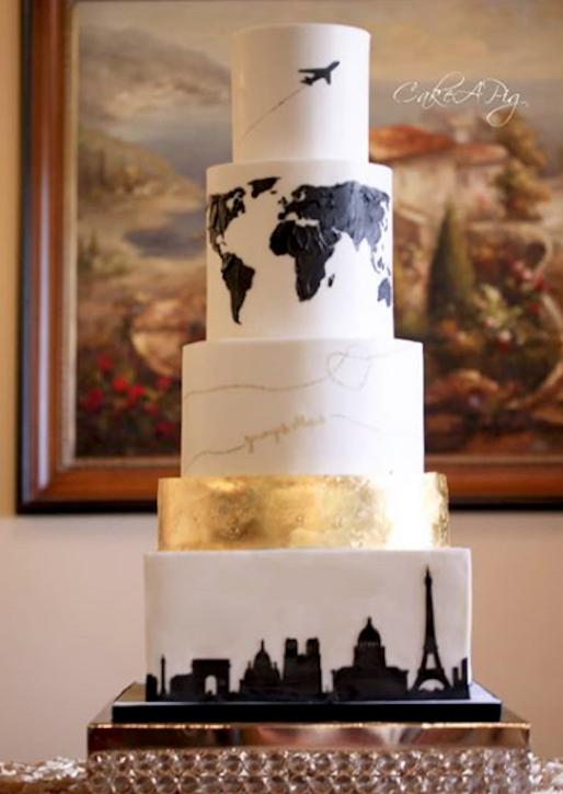 Jet setter fondant wedding cake