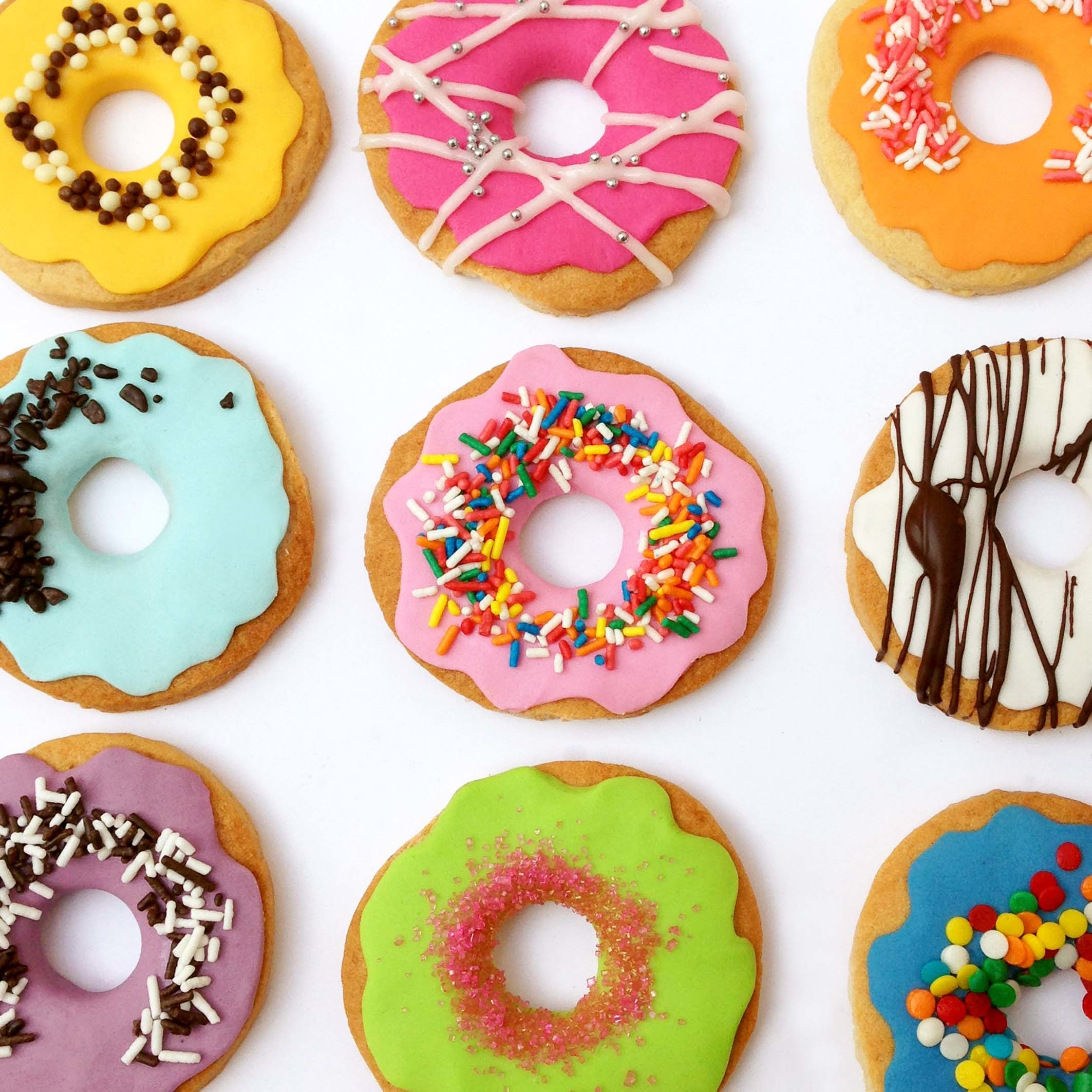 Colorful Fondant Donut Cookies