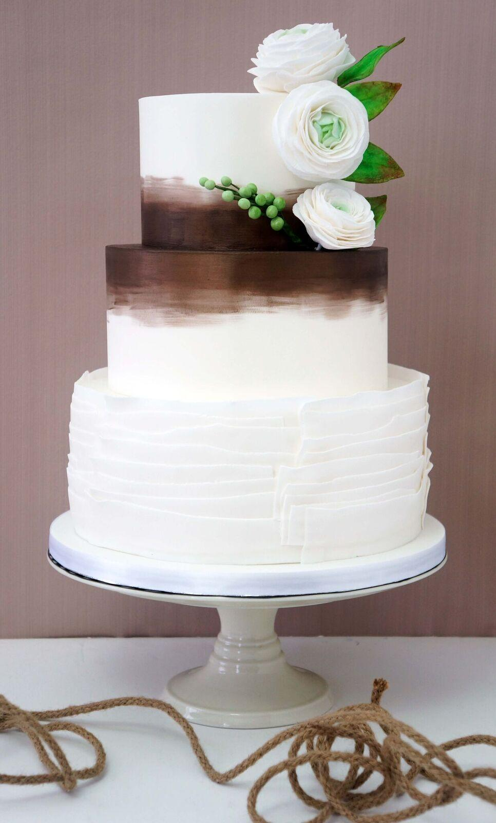 Brown and white ruffle wedding