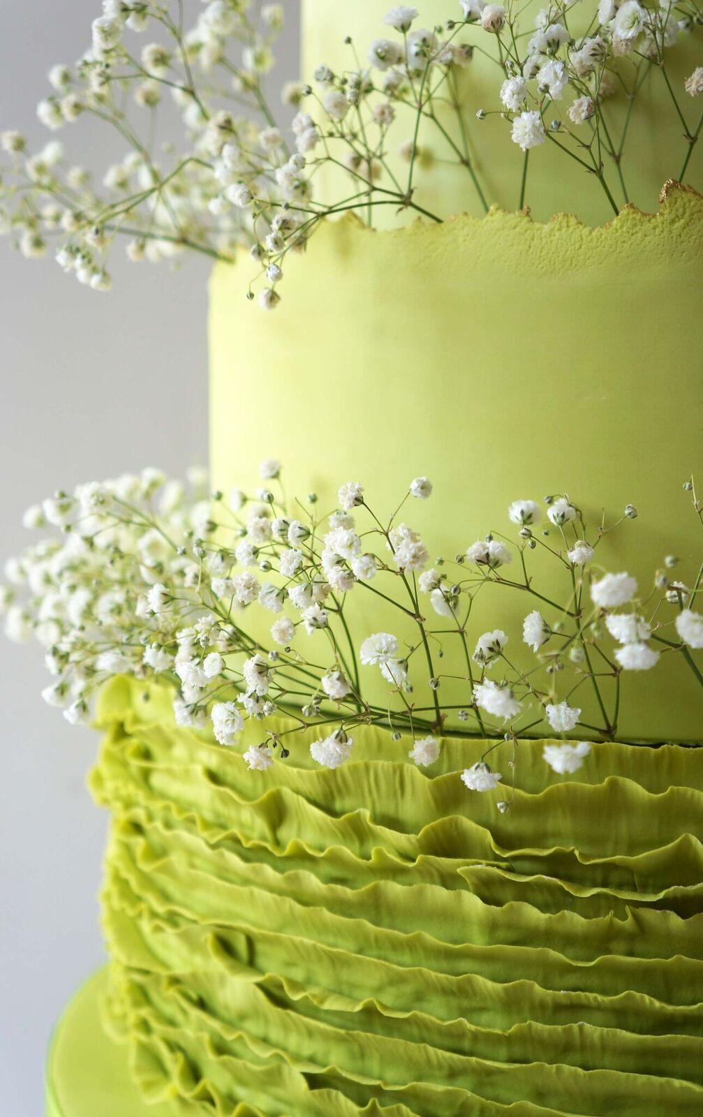 Bright Green fondant frill wedding cake
