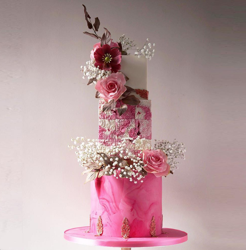 Bright Pink wedding cake with gum paste flowers