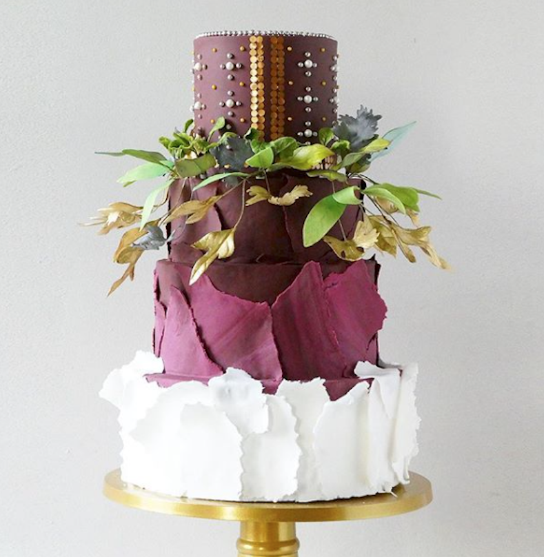 Burgundy and white ruffle fondant wedding cake