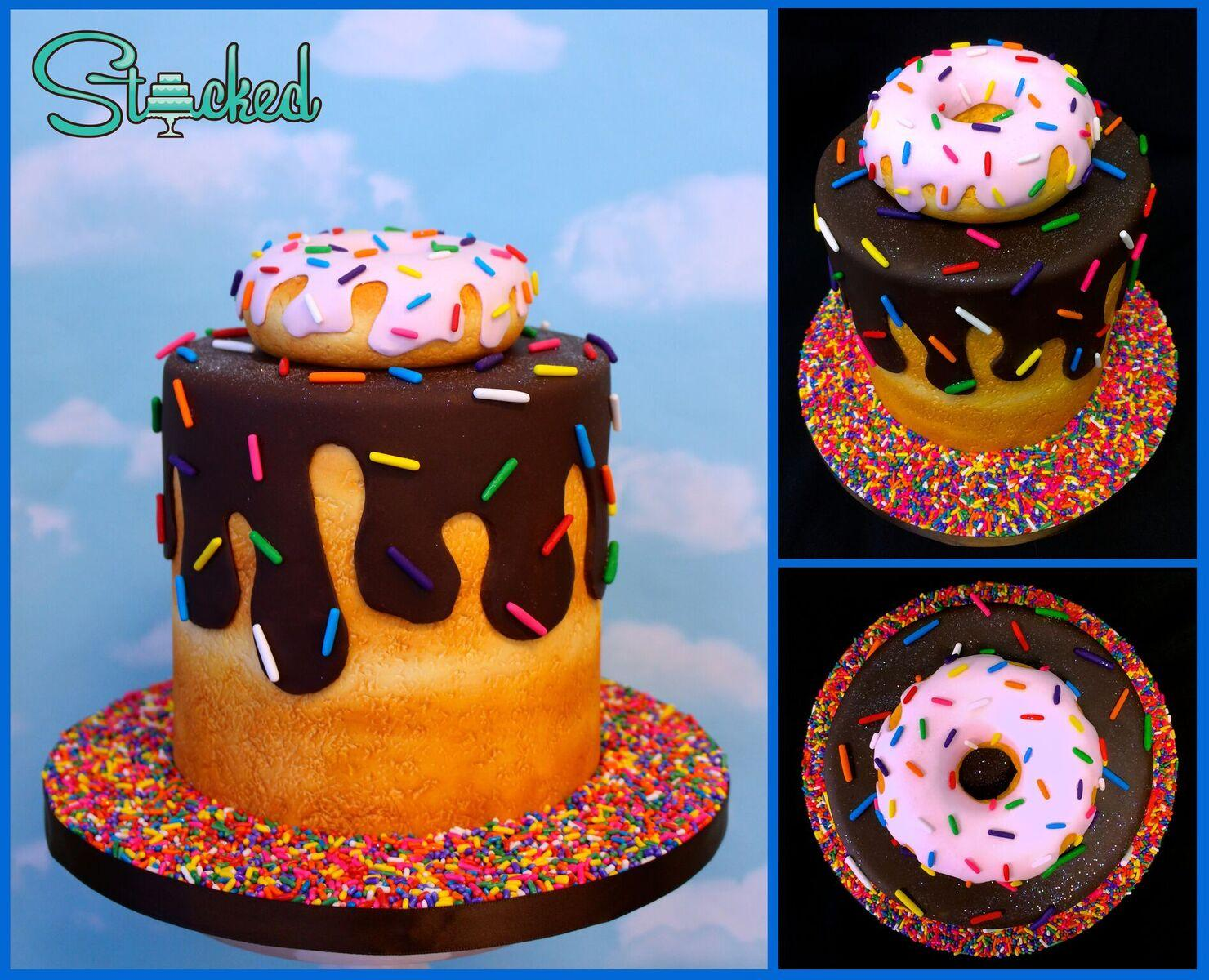 Chocolate covered donut cake