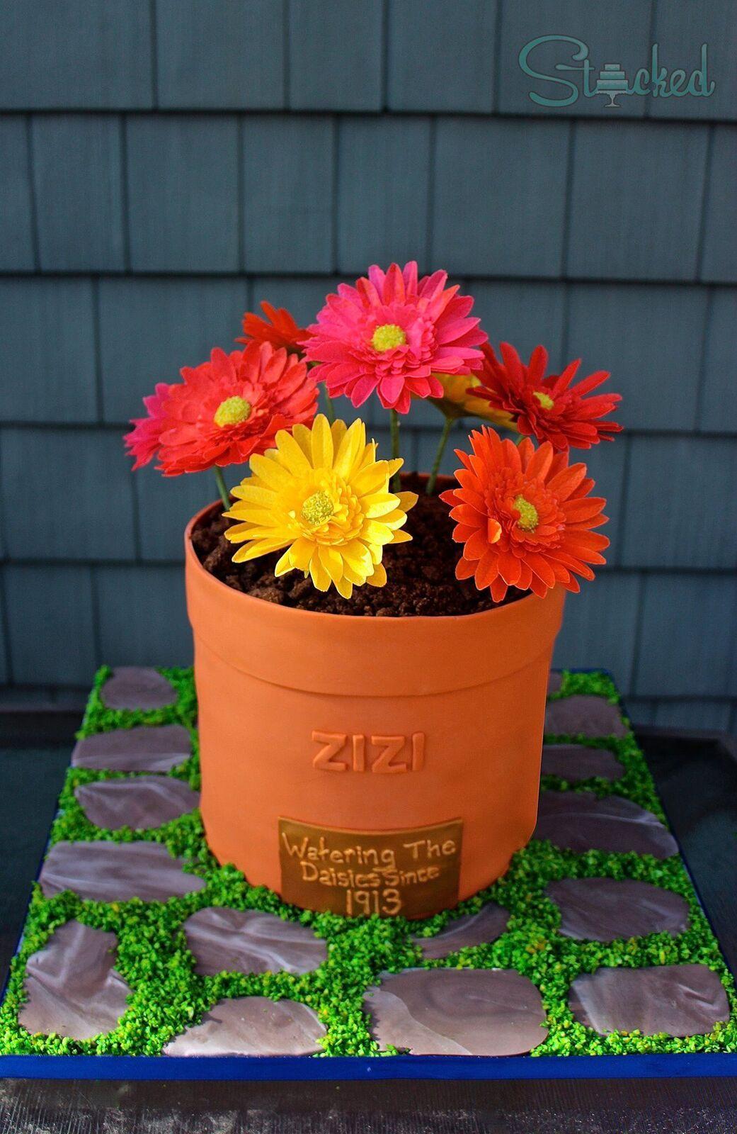 Flower Pot fondant cake