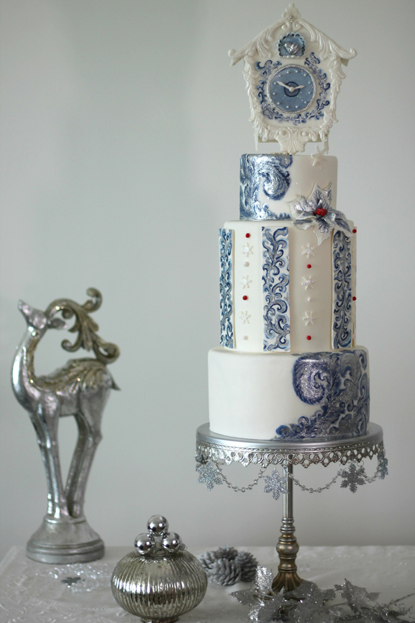 White with blue fondant winter wedding cake