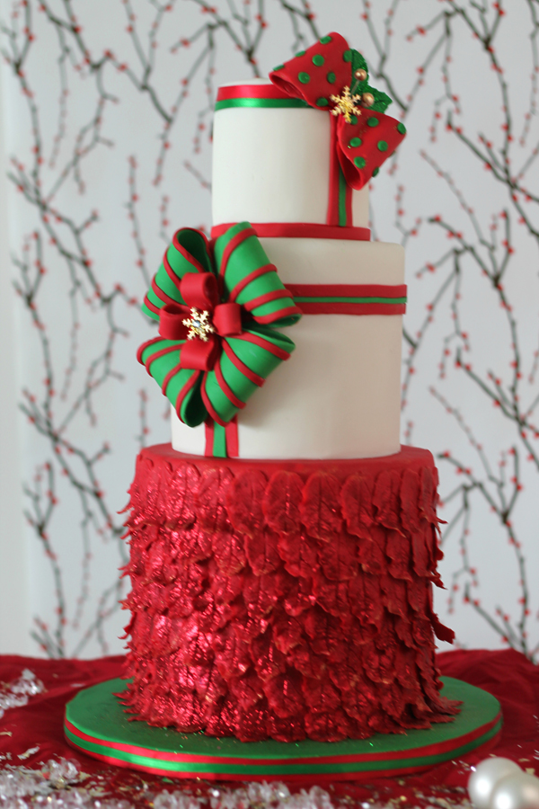 Red and white fondant ruffle cake