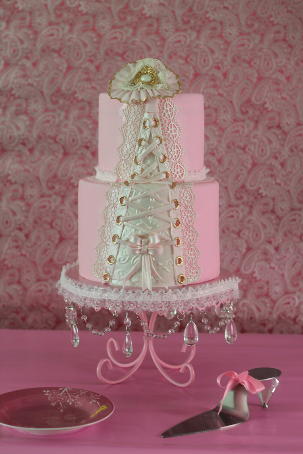 Baby pink Corset Wedding cake