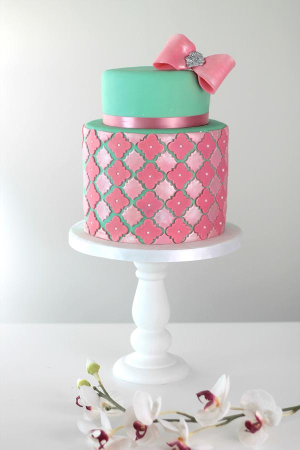Chevron Pattern fondant cake