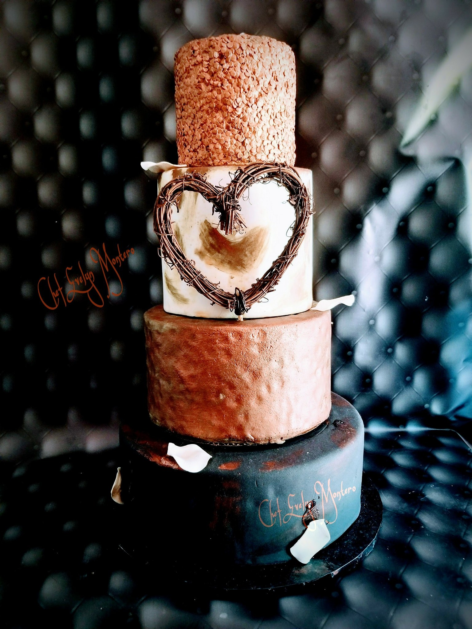 Rustic copper and black fondant wedding cake