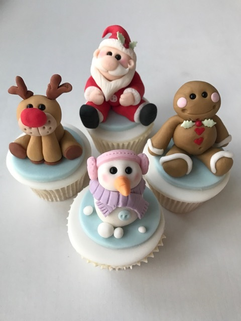 Santa & his friends fondant Cupcake Toppers