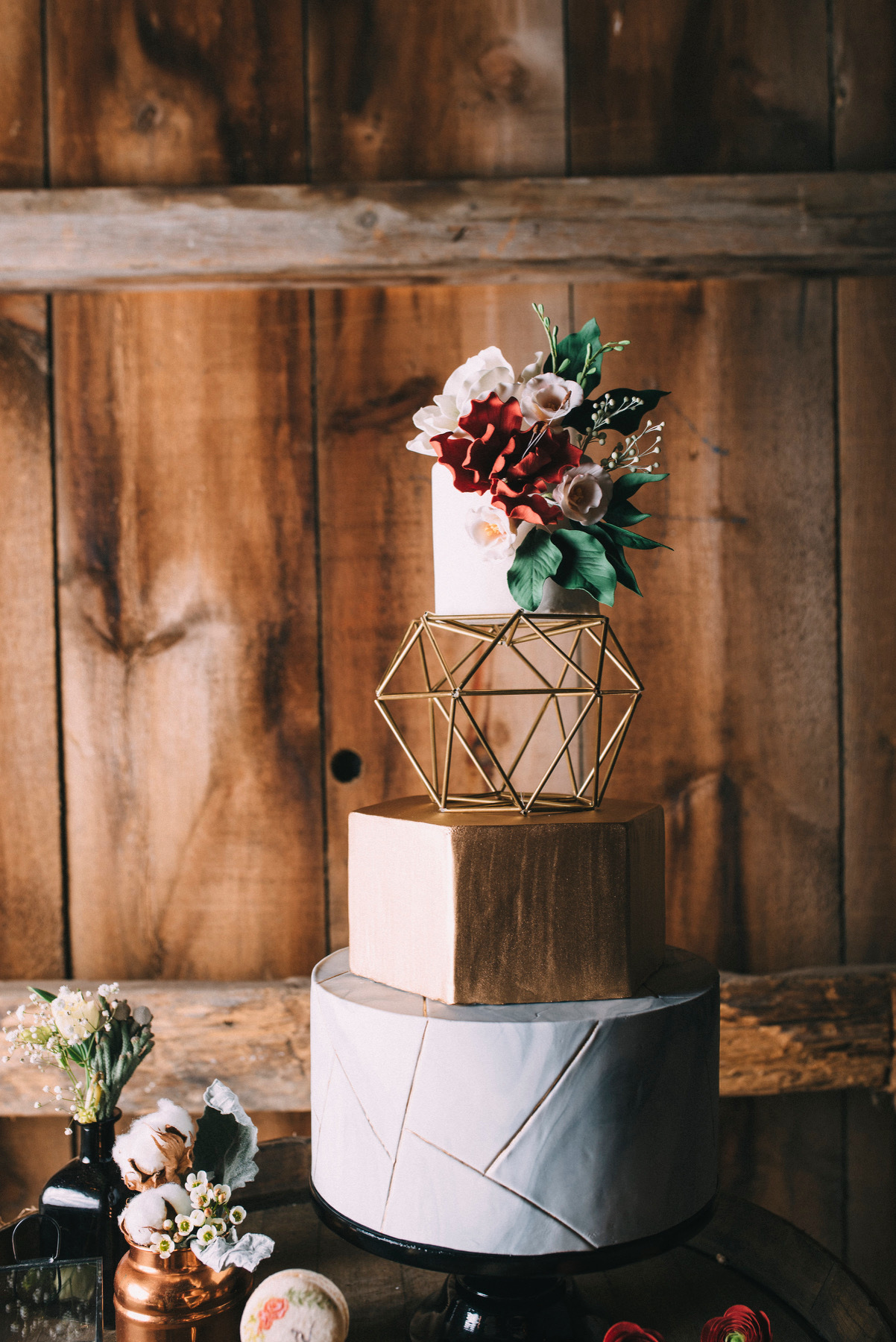 Bohemian themed fondant wedding cake