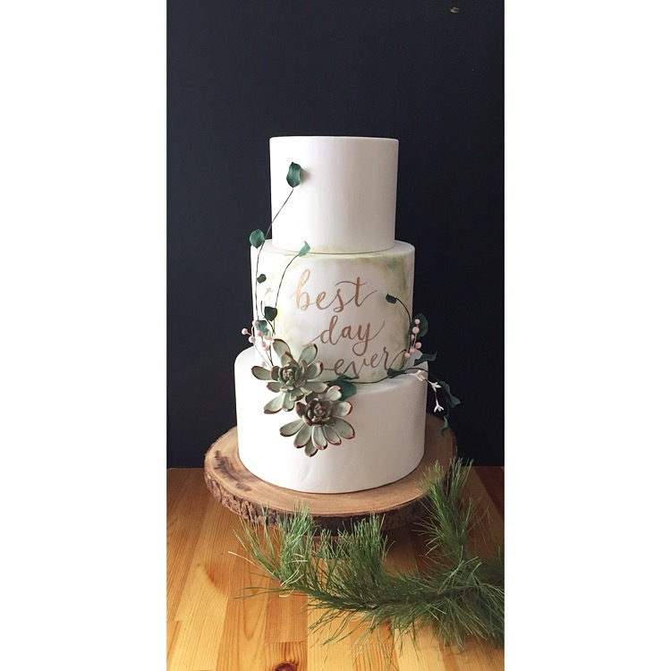 White Monogramed wedding cake