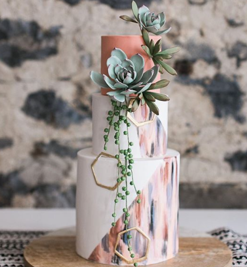 Boho white fondant cake with gum paste succulents