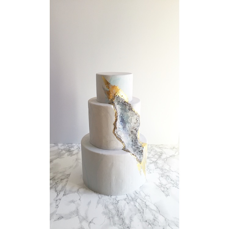 White fondant wedding cake with crystals