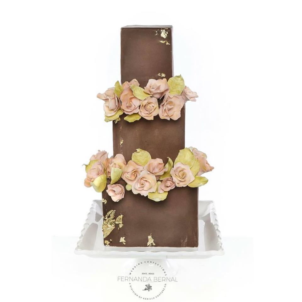 Brown fondant Square Wedding with Sugar Flowers