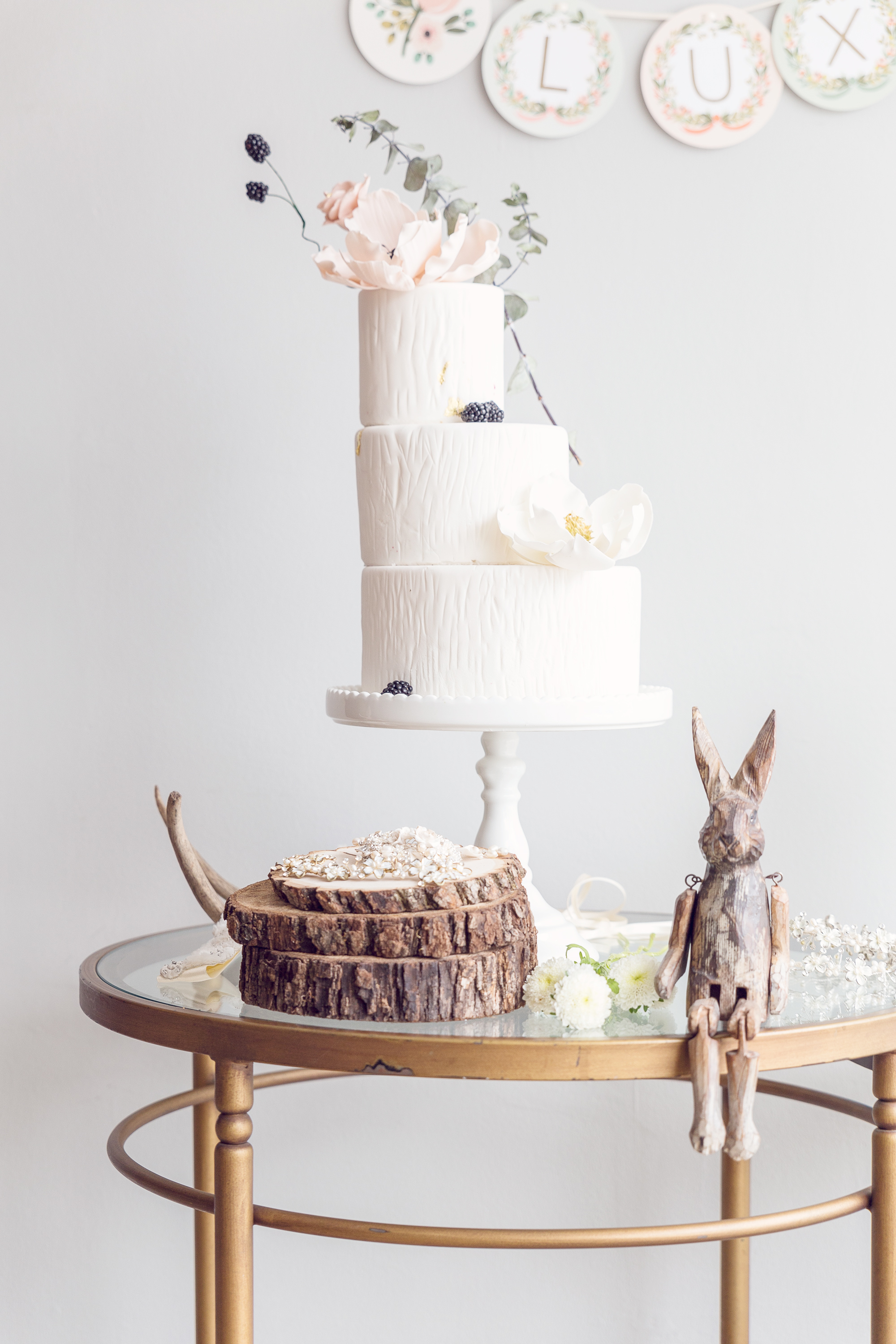 Rustic all White fondant Wedding cake