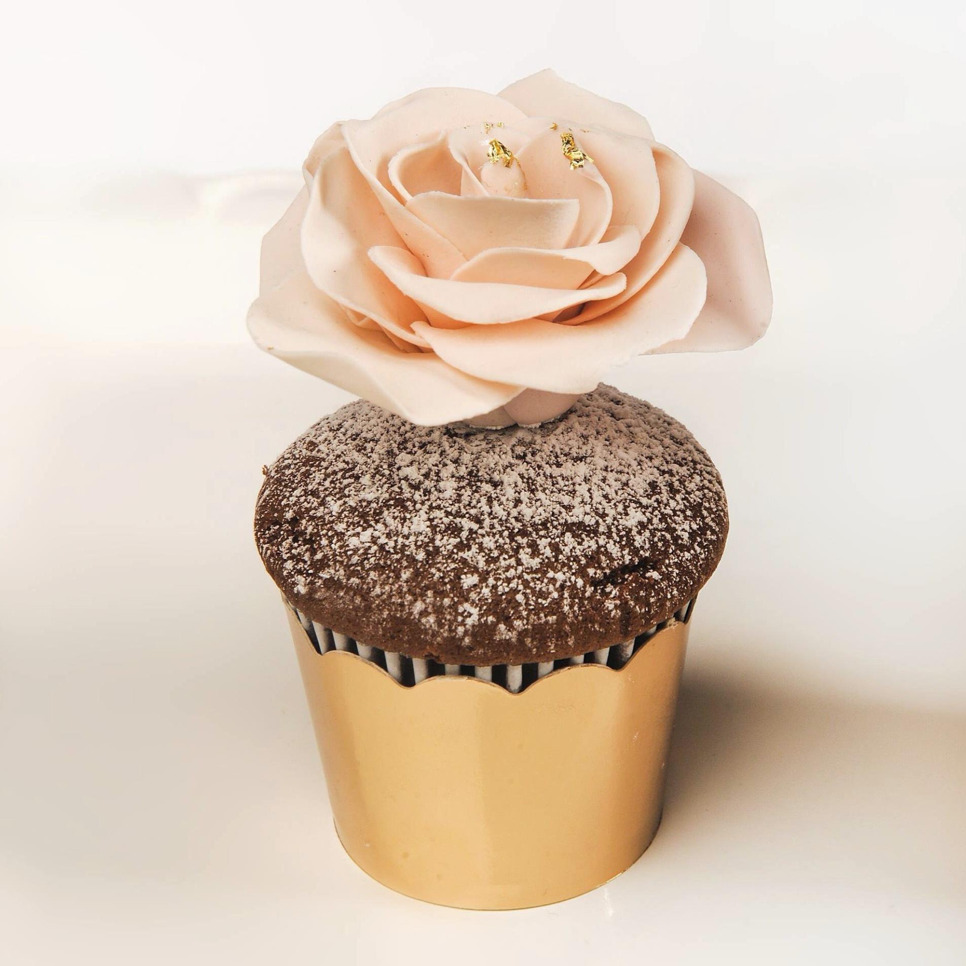 Pink Gum Paste Flower Cupcake