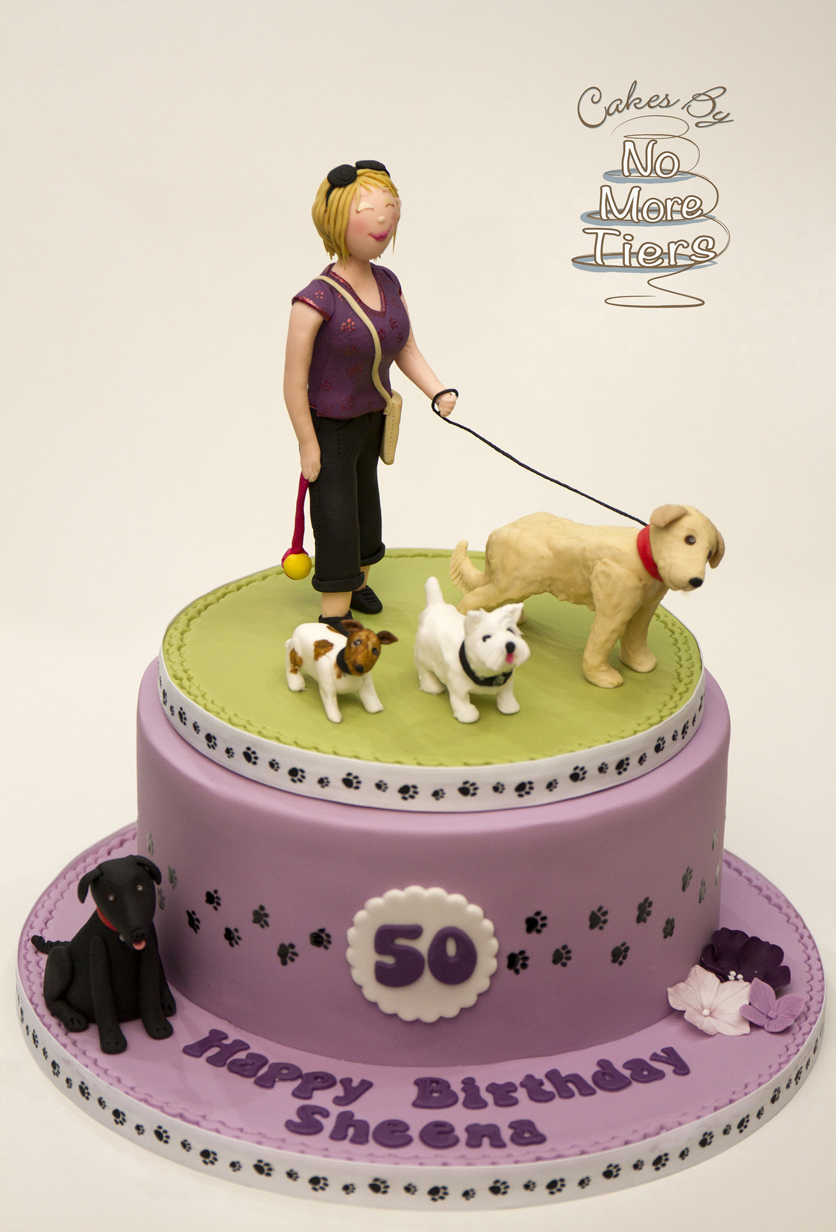 Dog walking birthday cake