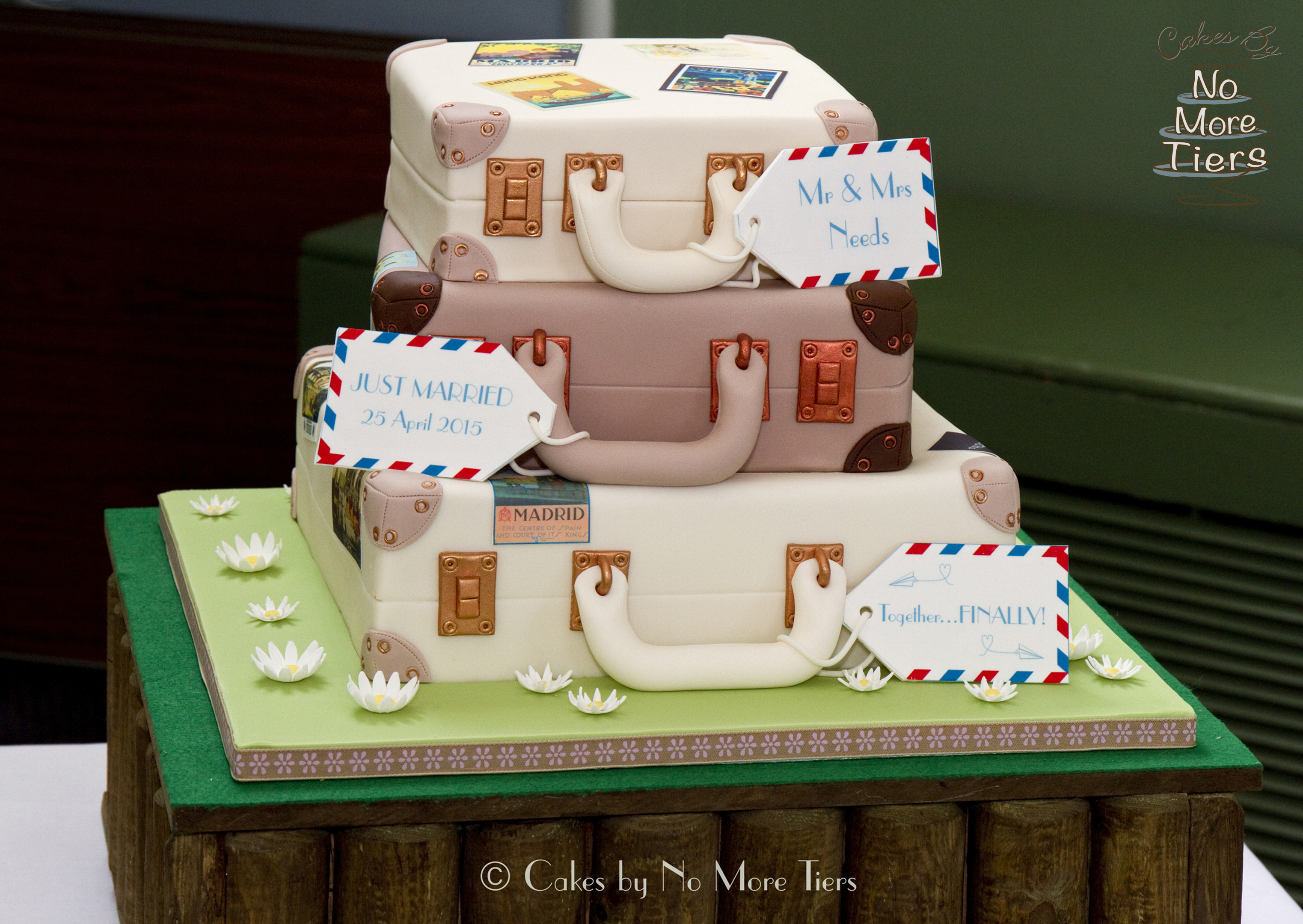 Suitcase stack novelty wedding cake