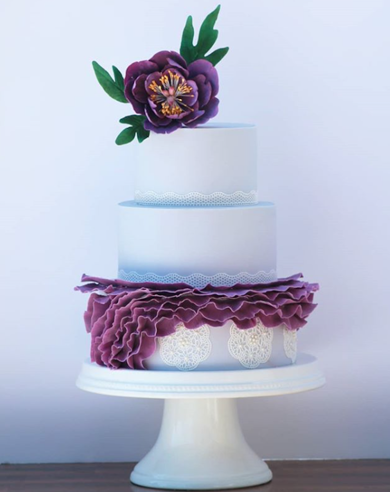 Lavender and purple fondant wedding cake