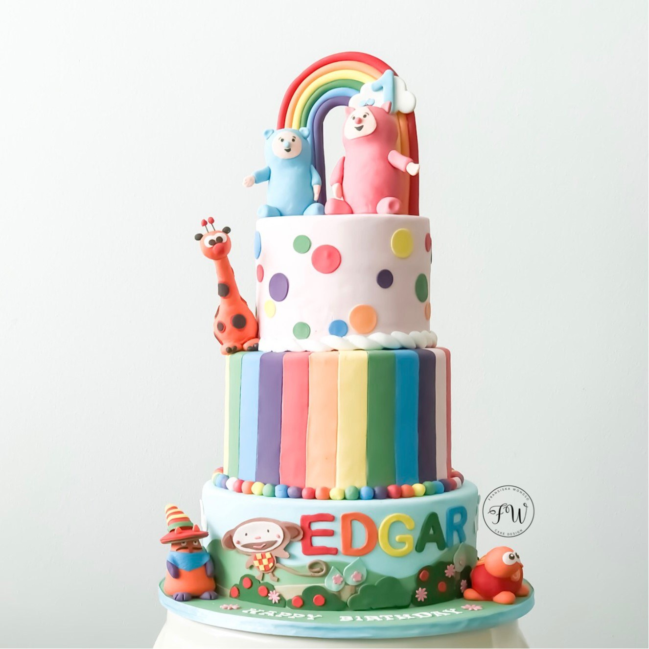 Rainbow and polka dot birthday cake