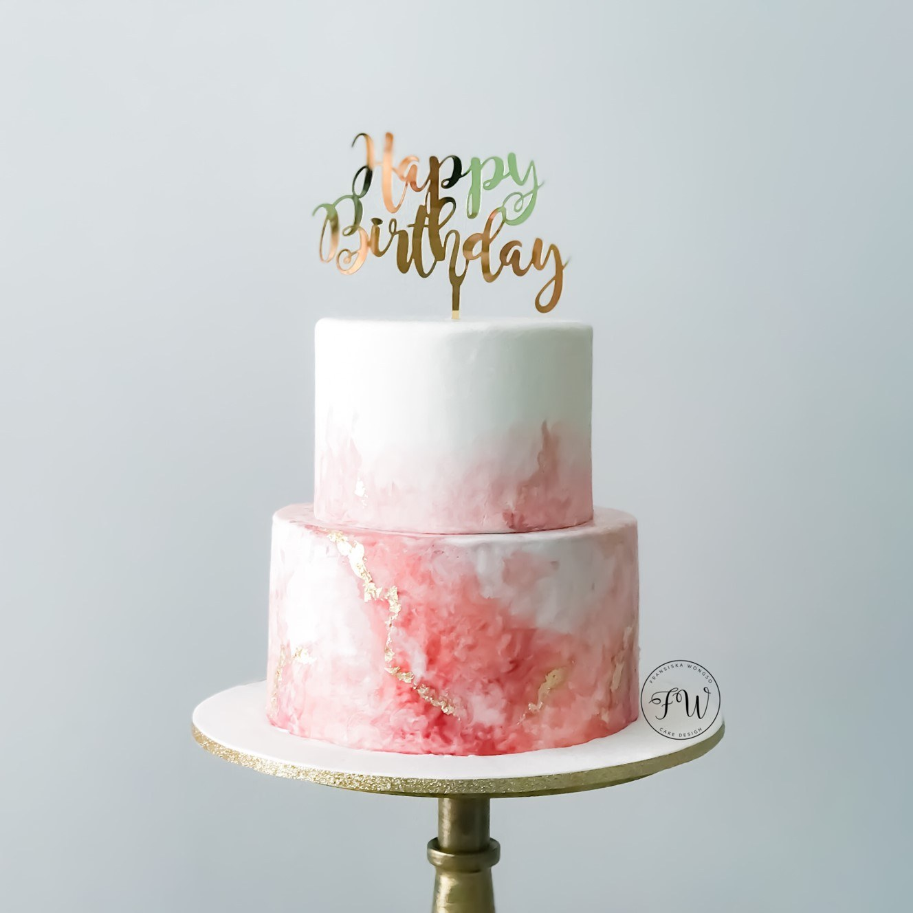 Red and what watercolor birthday cake