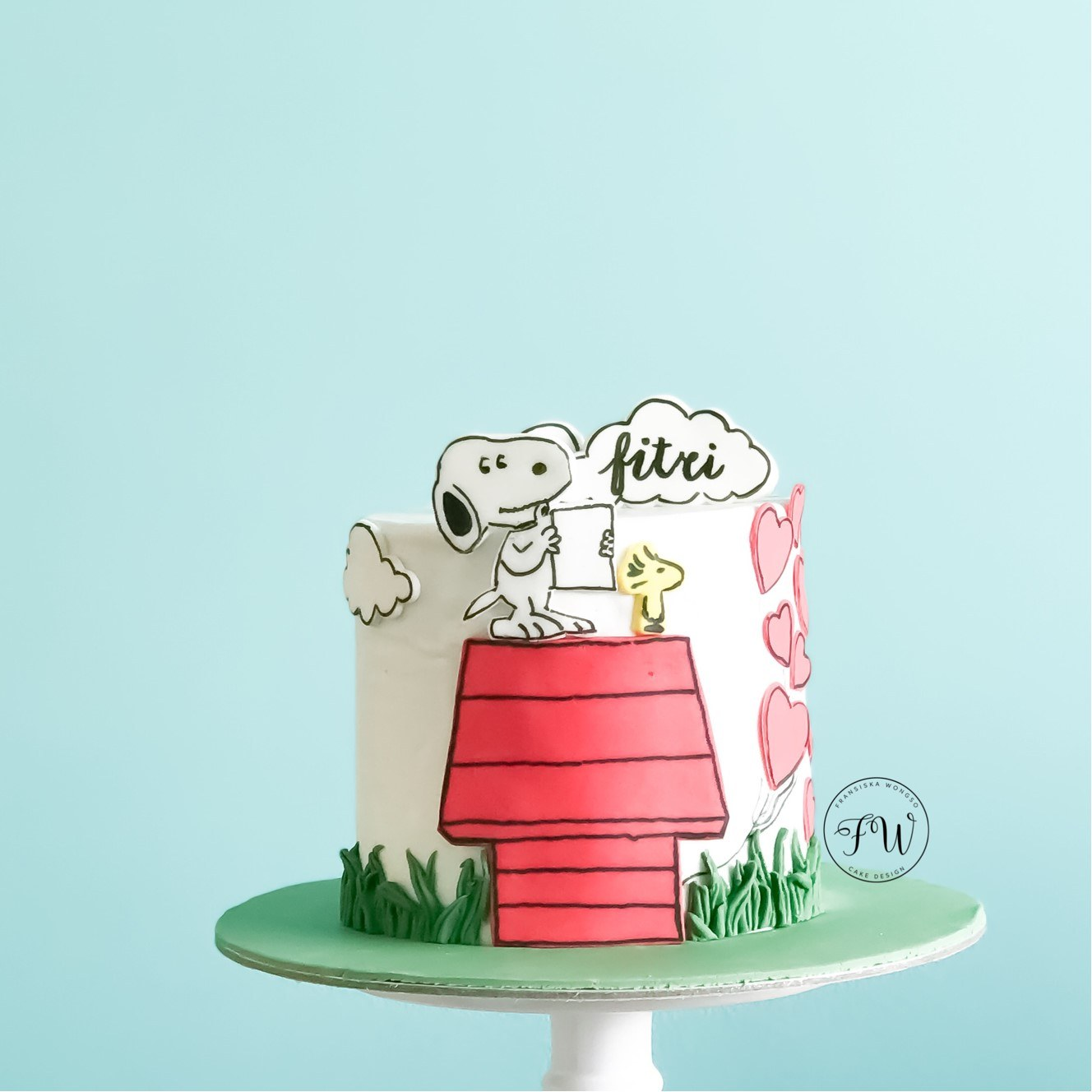 Snoopy themed birthday cake
