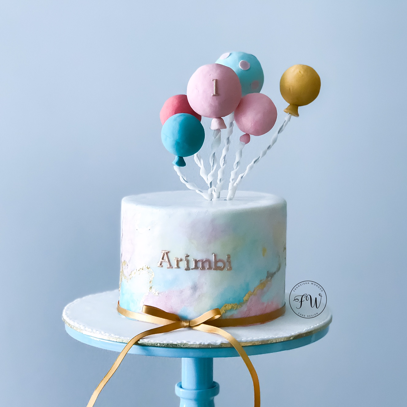 Hot air balloon birthday girl cake