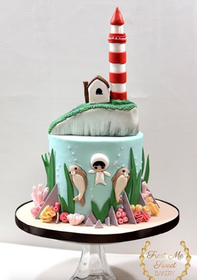 Lighthouse nautical fondant cake