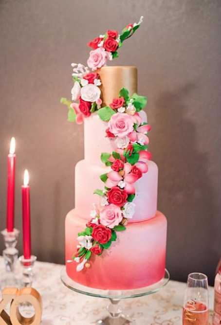 Pink watercolor fondant wedding cake