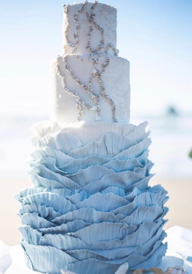 Baby blue fondant ruffle wedding cake