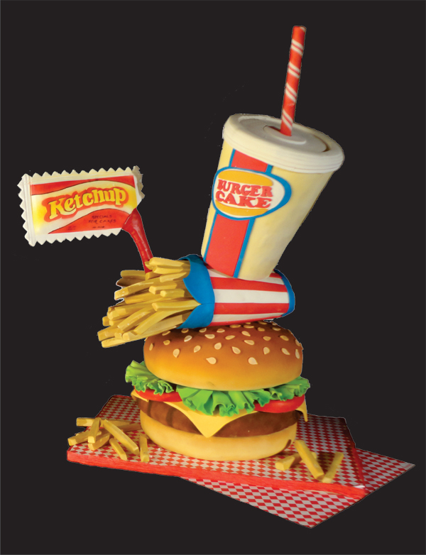 Topsy Turvy Burger Cake