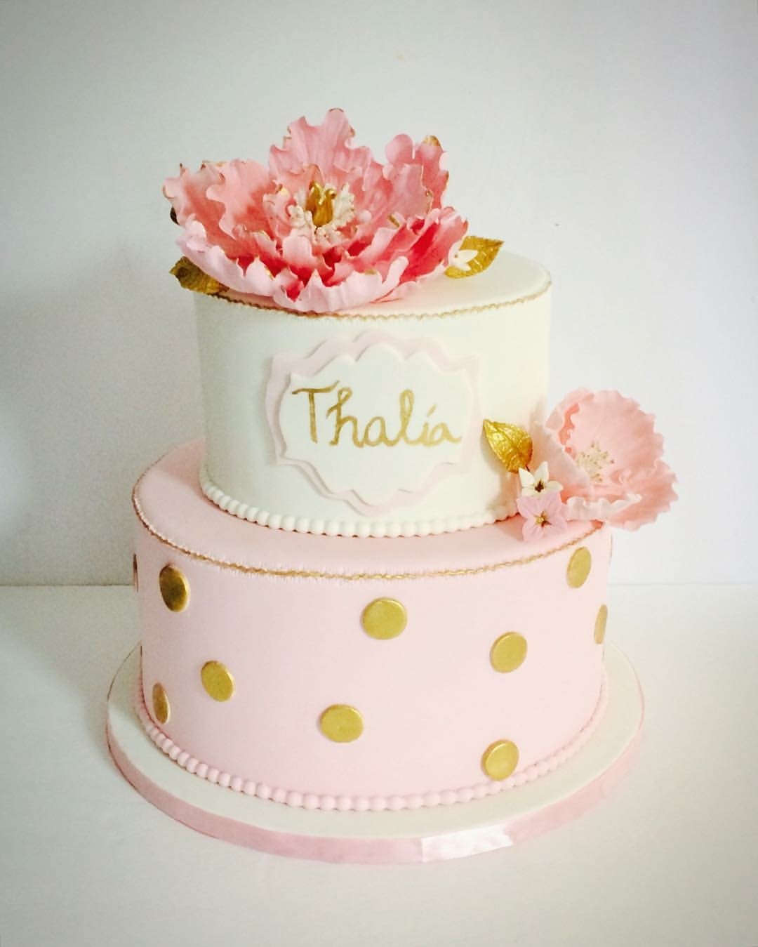 Pink with gold baby shower cake with open sugar peony
