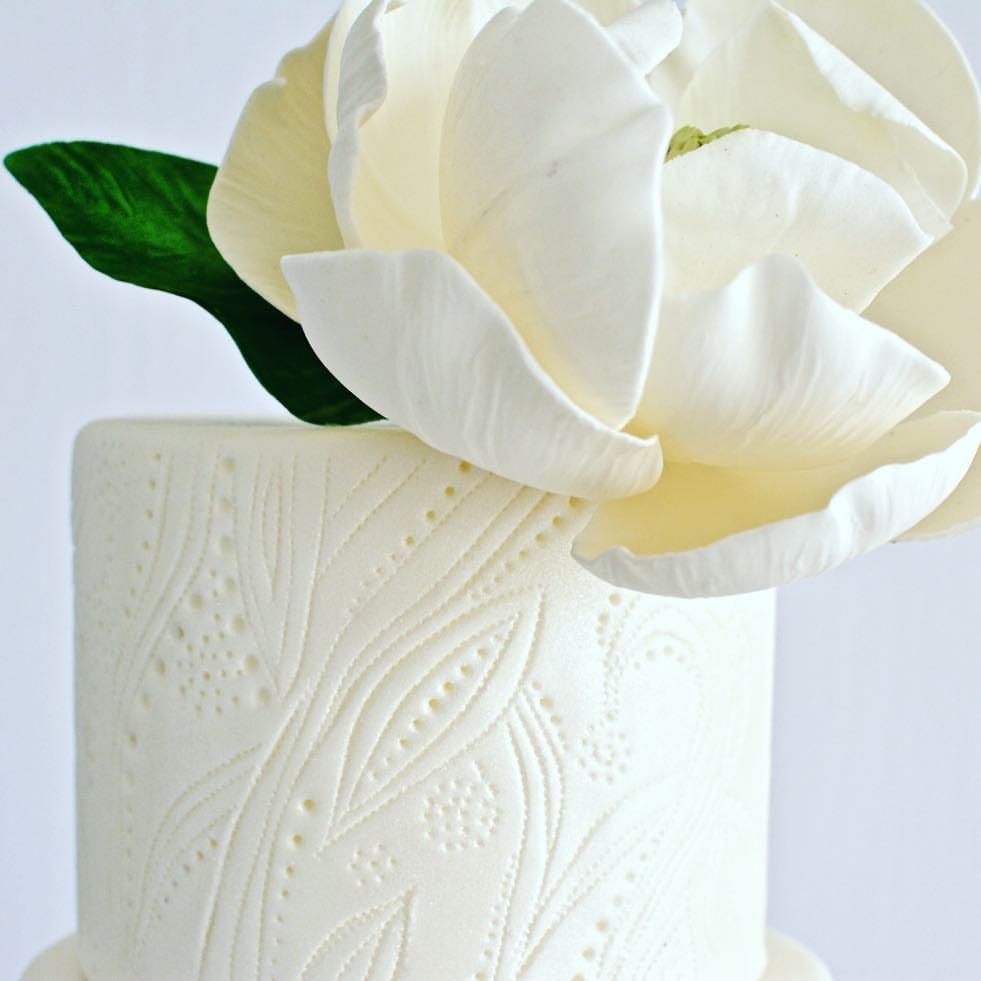 White gum paste sugar flower