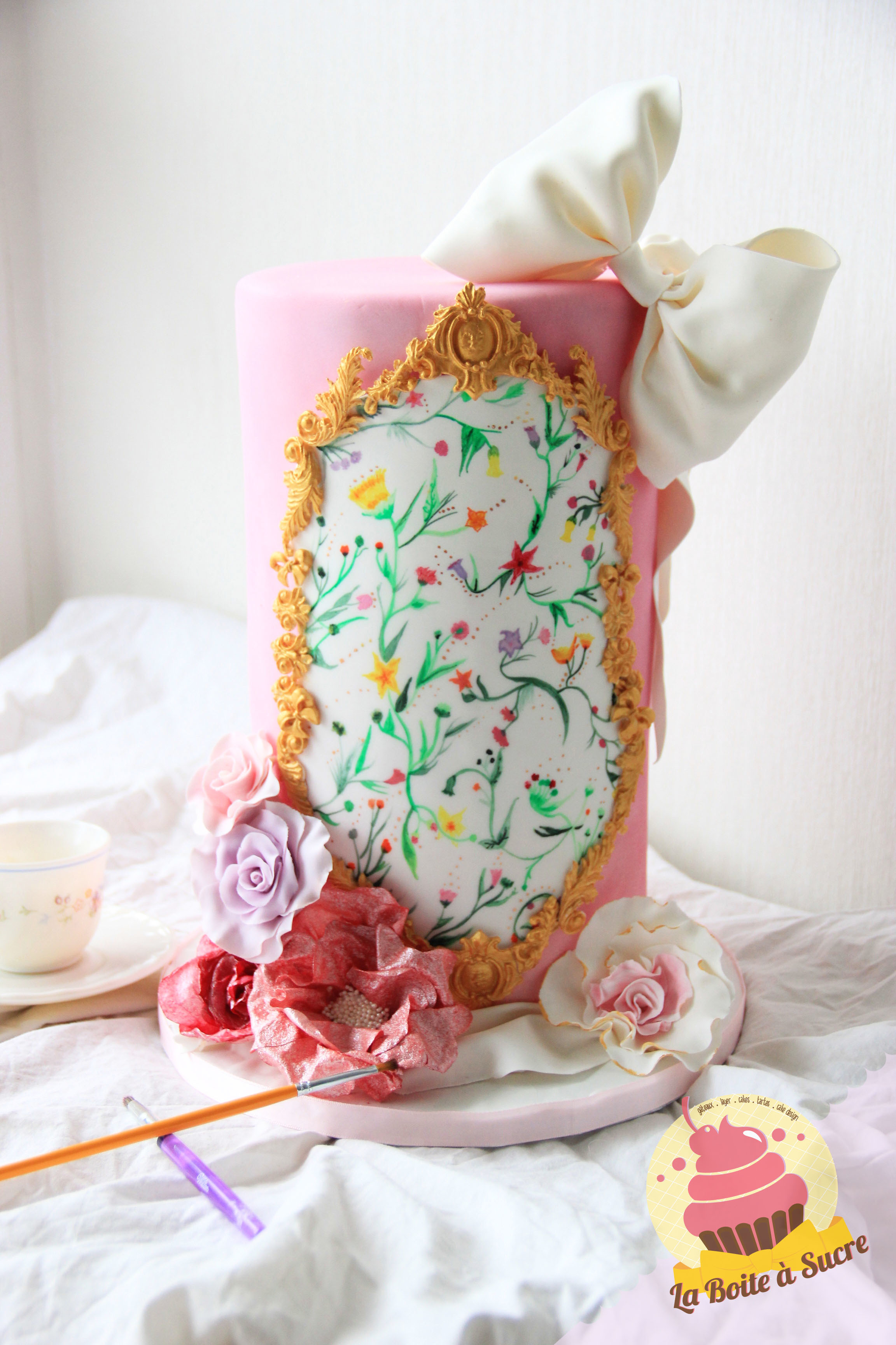 Tall pink victorian barrel cake hand painted flowers