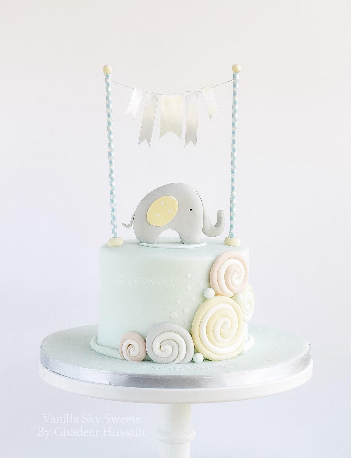 Baby blue elephant fondant cake