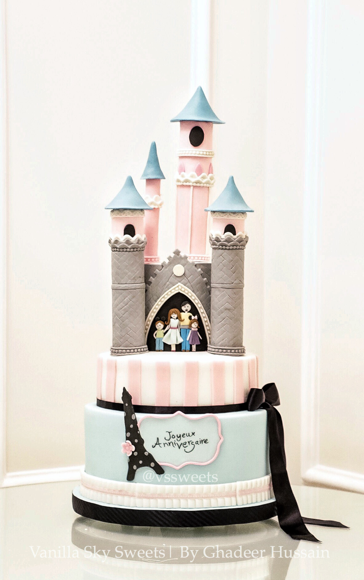 Parisian themed fondant birthday cake