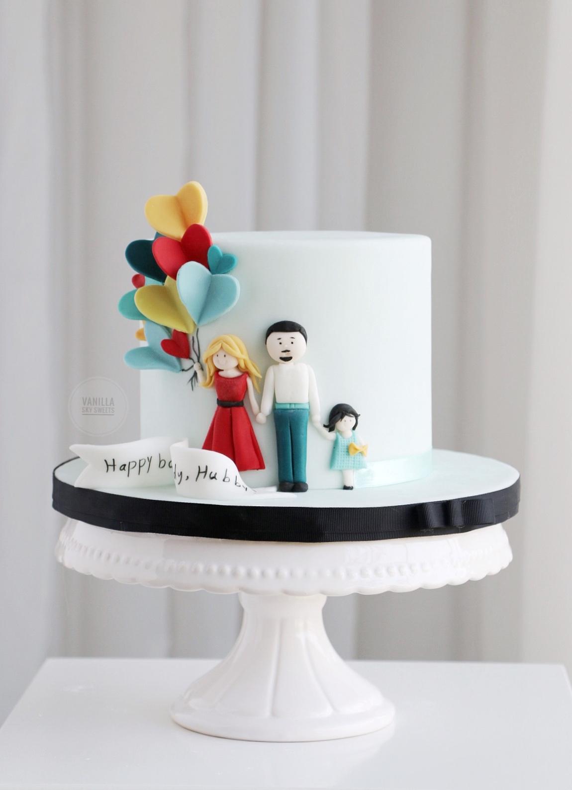 Balloon themed birthday cake