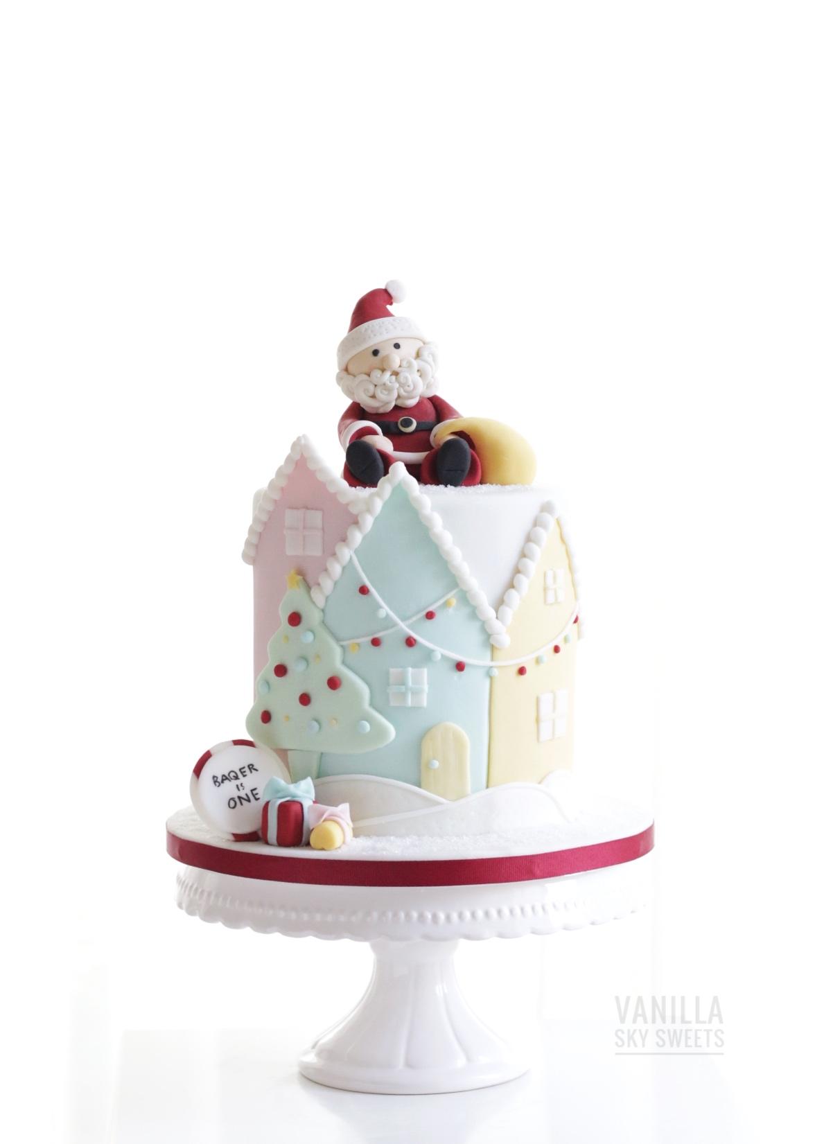 Santa on roof christmas cake