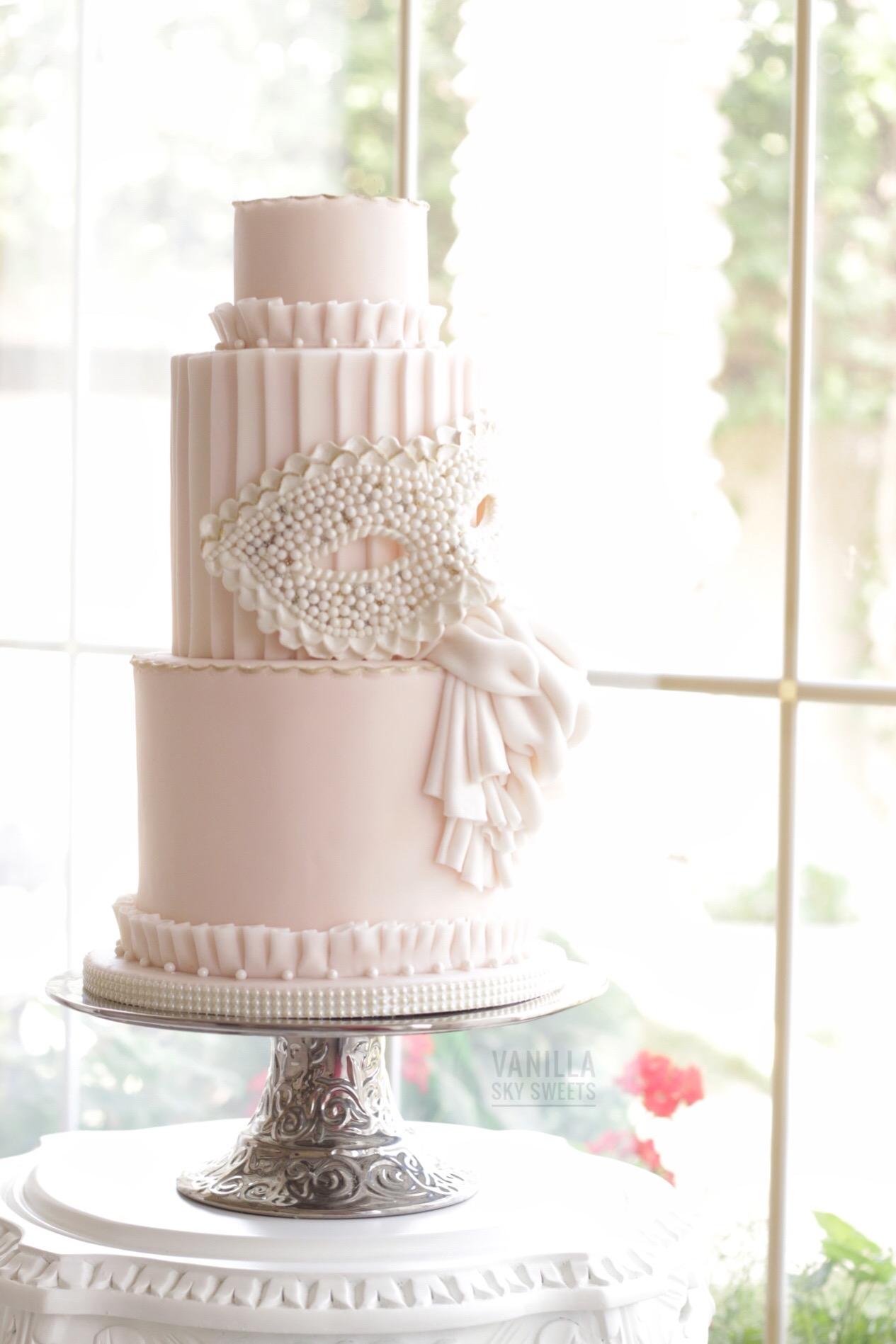 Pastel Pink Masquerade theme fondant wedding Cake