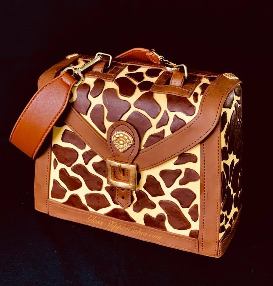 Leopard print fondant handbag cake