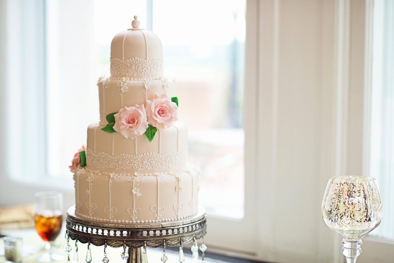 All baby pink Birdcage wedding cake