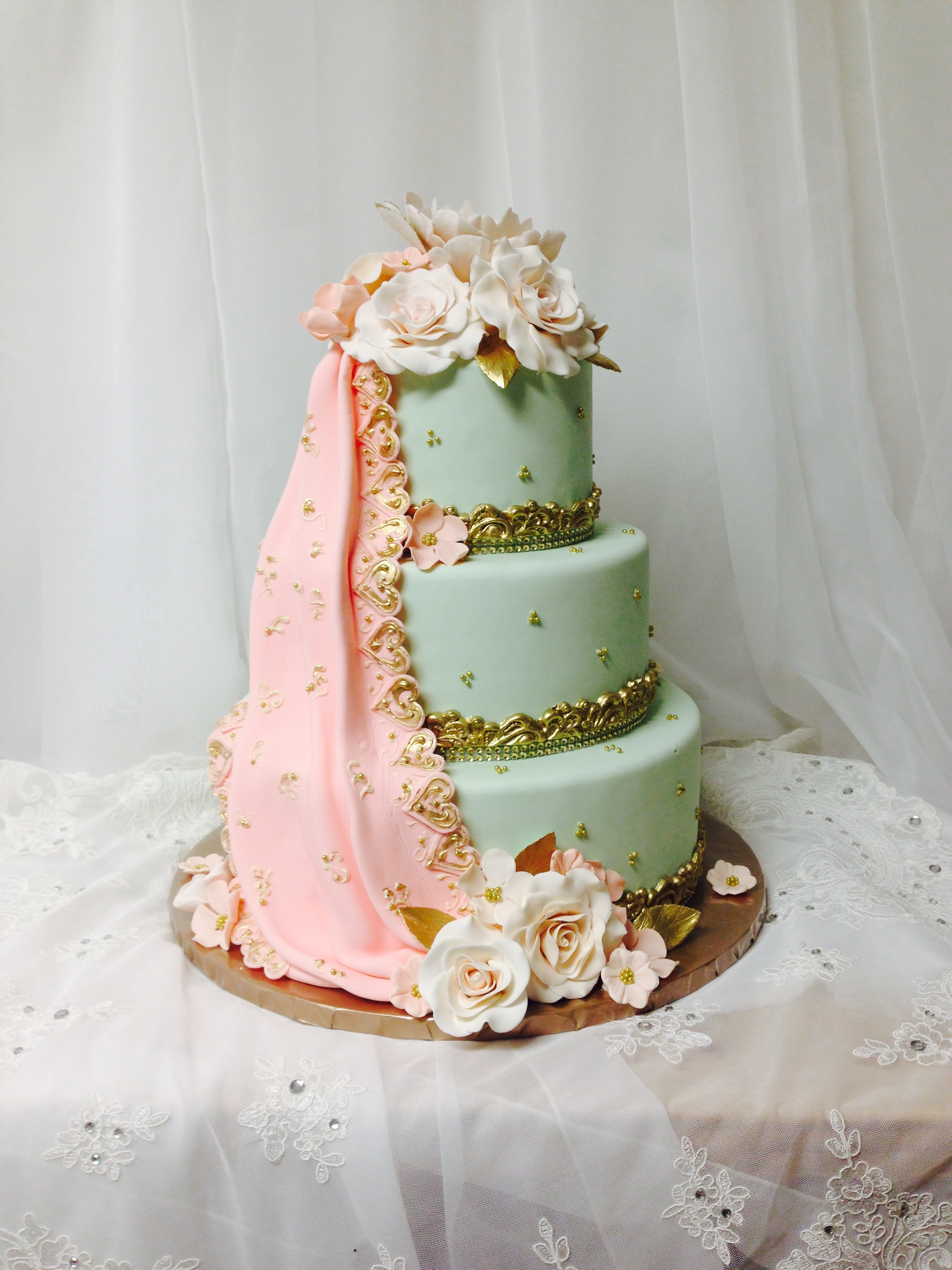 Pastel green and pink victorian wedding