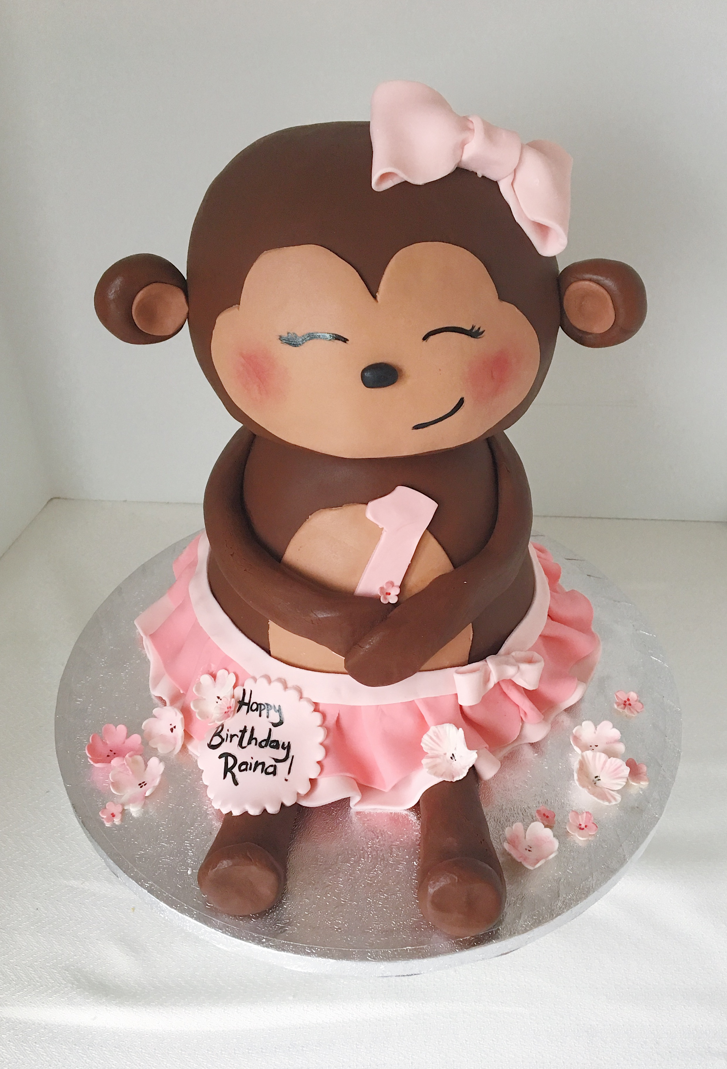 Monkey girls birthday cake