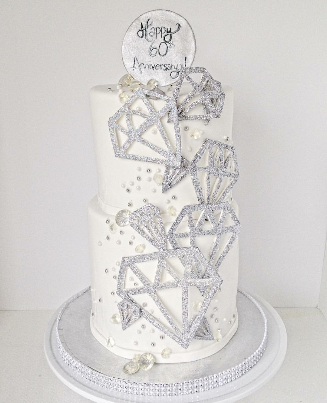 White and silver bling anniversary cake