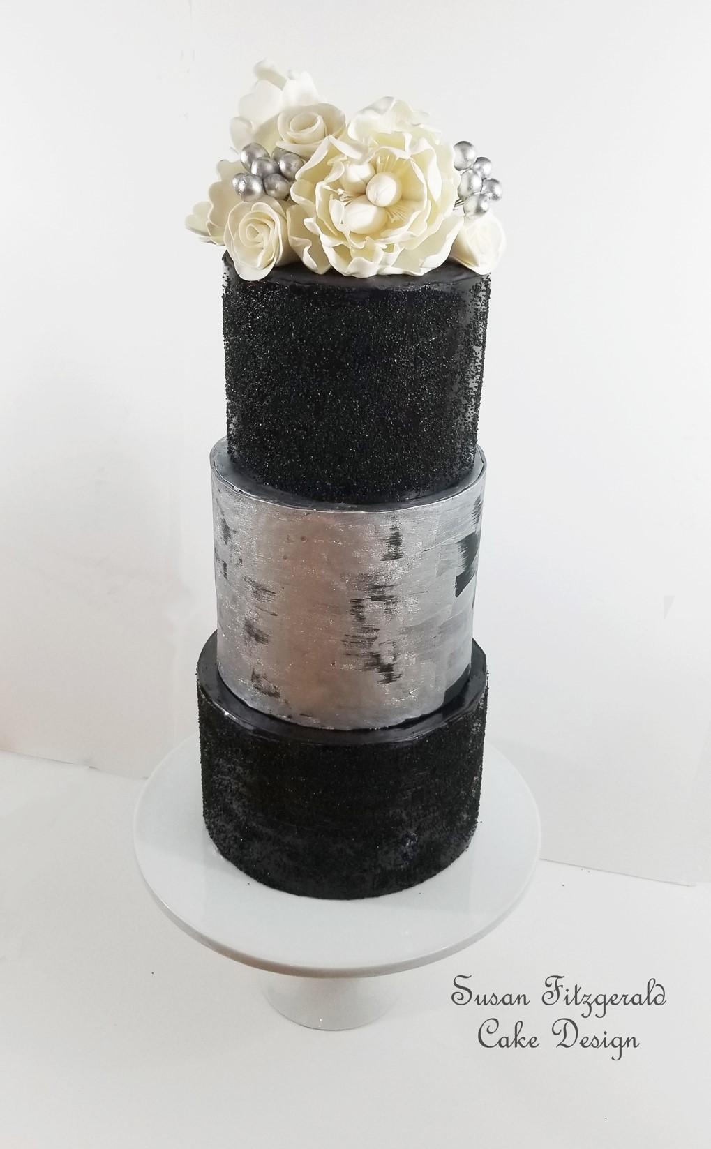 Gray and black fondant cake