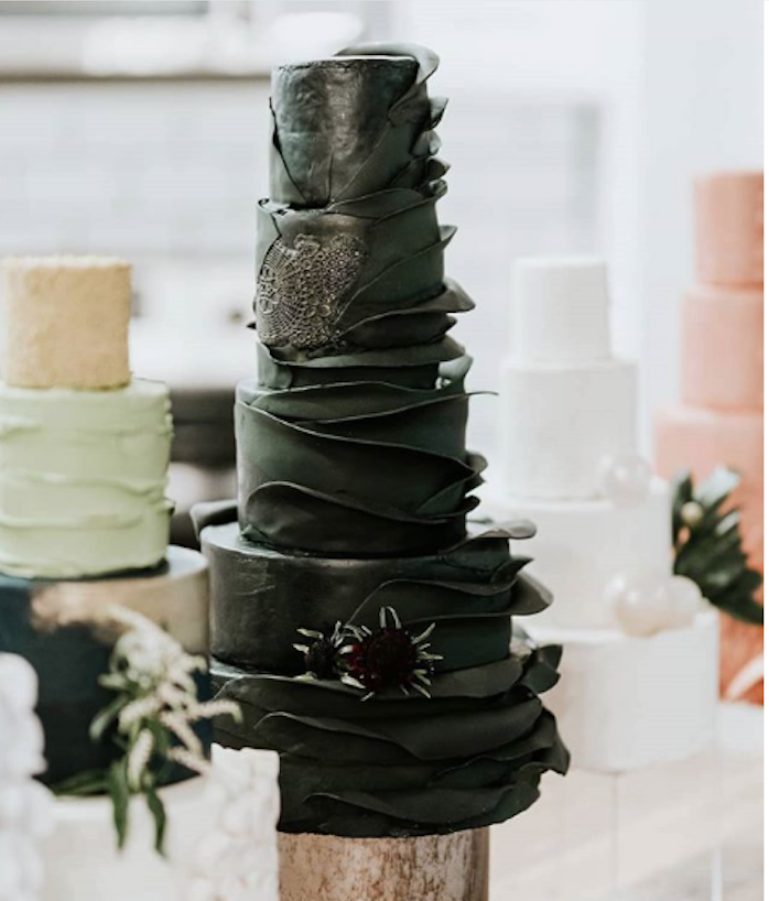 All black fondant ruffle wedding cake