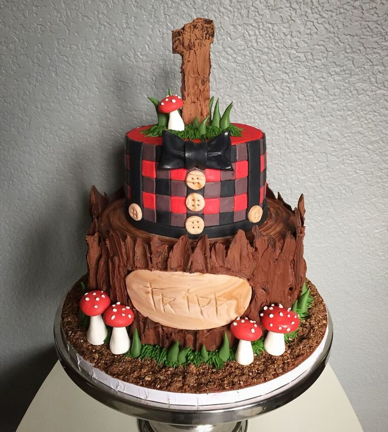 Lumberjack 1st birthday fondant cake