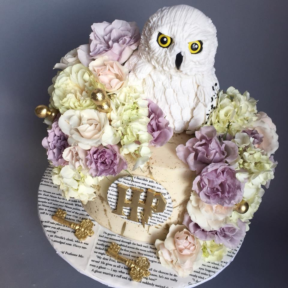 Lavender and white harry potter cake